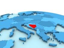 Bosnia on blue globe Royalty Free Stock Image