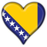 Bosnia button flag heart shape Royalty Free Stock Images