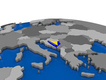 Bosnia on 3D globe Royalty Free Stock Images