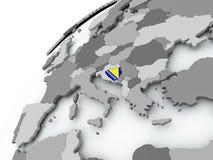 Flag of Bosnia on grey globe. Bosnia with embedded flag on globe. 3D illustration Stock Image