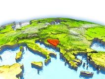 Bosnia on globe Royalty Free Stock Image