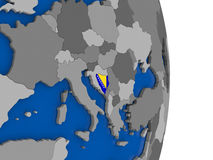 Bosnia on globe with flag Royalty Free Stock Photo
