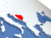 Bosnia on globe Stock Photography