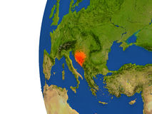 Bosnia on globe Stock Photo