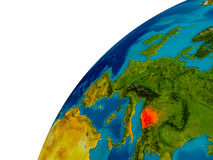 Bosnia on globe Royalty Free Stock Photos