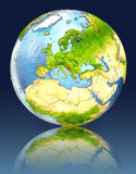 Bosnia on globe with reflection. Illustration with detailed planet surface. Elements of this image furnished by NASA Royalty Free Stock Photos