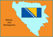 Bosnia and Herzegovina. Vector map and flag of Europe country Bosnia and Herzegovina Stock Images