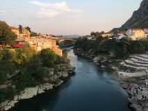 Bridge and river in Mostar. Bosnia and Herzegovina bridge Royalty Free Stock Images