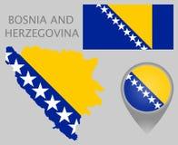 Bosnia and Herzegovina  flag, map and map pointer stock illustration