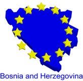 Bosnia and Herzegovina in EU. Simplified contour of Bosnia and Herzegovina as a future member of European Union Royalty Free Stock Image
