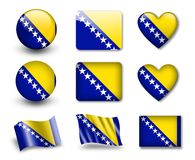 The Bosnia and Herzegovina flag. Set of icons and flags. glossy and matte on a white background Royalty Free Stock Photography