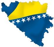 Bosnia and Herzegovina flag. Vector illustration of a map and flag from Bosnia and Herzegovina Stock Image