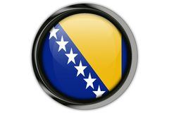 Bosnia & Herzegovina flag in the button pin Isolated on White Ba Stock Photography