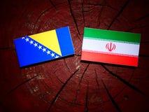 Bosnia and Herzegovina flag with Iranian flag on a tree stump is. Olated Stock Photo