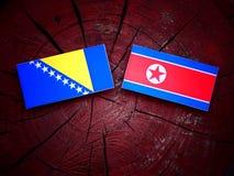 Bosnia and Herzegovina flag with North Korean flag on a tree stump  Stock Photos