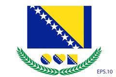 Bosnia and Herzegovina Flag vector illustration. Royalty Free Stock Image