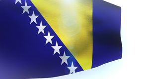Bosnia and Herzegovina flag waving isolated on white wave. Video stock video