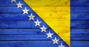 Bosnia and Herzegovina flag on wooden boards Stock Images
