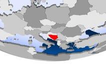Bosnia and Herzegovina on globe. Bosnia and Herzegovina on 3D model of political globe with transparent oceans. 3D illustration Stock Photography