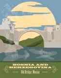 Bosnia and Herzegovina landmarks. Retro styled image Royalty Free Stock Image