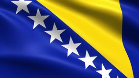 Bosnia and Herzegovina Looping Flag 4K, with waving fabric texture. Realistic flag of Bosnia and Herzegovina, Seamless looping with highly detailed fabric stock video