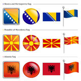 Bosnia and Herzegovina, Macedonia and Albania Flag Icon. The wor Royalty Free Stock Photos