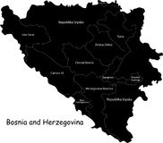Bosnia and Herzegovina map stock photo