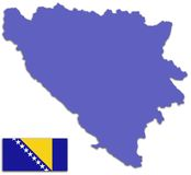 Bosnia and Herzegovina map and flag Stock Photos