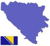 Bosnia and Herzegovina map and flag Stock Photos