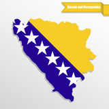 Bosnia and herzegovina map with flag inside and ribbon Stock Image