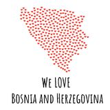 Bosnia and Herzegovina Map with red hearts - symbol of love. abstract background Royalty Free Stock Photos