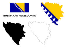 Bosnia and Herzegovina map vector, Bosnia and Herzegovina flag vector, isolated Bosnia and Herzegovina Royalty Free Stock Image