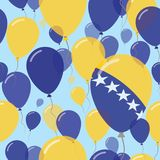 Bosnia and Herzegovina National Day Flat Seamless. Bosnia and Herzegovina National Day Flat Seamless Pattern. Flying Celebration Balloons in Colors of Bosnian Stock Photo