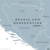 Bosnia and Herzegovina political map with capital Sarajevo Stock Images