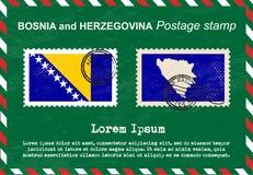 Bosnia and Herzegovina Postage stamp, vintage stamp, air mail envelope. Royalty Free Stock Photo