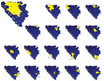 Bosnia herzegovina provinces maps Stock Photography