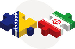 Bosnia Herzegovinan and Iranian Flags in puzzle Stock Image