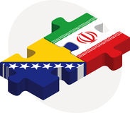 Bosnia Herzegovinan and Iranian Flags in puzzle Stock Images