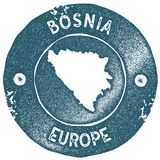 Bosnia map vintage stamp. Retro style handmade label. Bosnia badge or element for travel souvenirs. Rubber stamp with country map silhouette. Vector Stock Photography