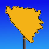 Bosnia map warning sign Stock Image