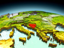 Bosnia on model of Earth Stock Photo