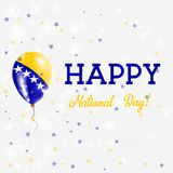 Bosnia National Day patriotic poster. Flying Rubber Balloon in Colors of the Bosnian, Herzegovinian Flag. Bosnia National Day background with Balloon, Confetti Royalty Free Stock Photos