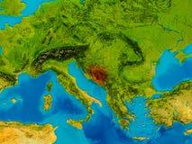 Bosnia on physical map Stock Photos