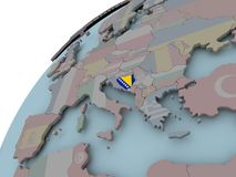 Map of Bosnia with flag. Bosnia on political globe with embedded flags. 3D illustration Stock Photos
