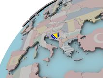 Map of Bosnia with flag Royalty Free Stock Photos