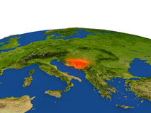 Bosnia in red from orbit Royalty Free Stock Photo