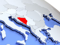 Bosnia on world map Royalty Free Stock Images