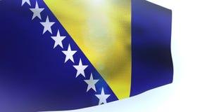 Bosnia y Herzegovina señala agitar por medio de una bandera aislado en la onda blanca stock de ilustración