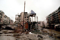 BOSNIAN CIVIL WAR. SARAJEVO, BOSNIA, 01 DECEMBER 1996 - The city of Sarajevo stands in ruin after three years of siege and civil war Stock Photo
