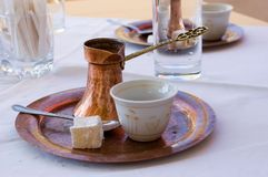 Bosnian coffee. Traditional bosnian coffee served at the restaurant Royalty Free Stock Photos